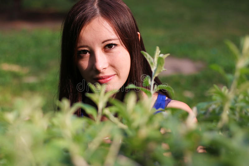 Girl's face through the leaves stock image