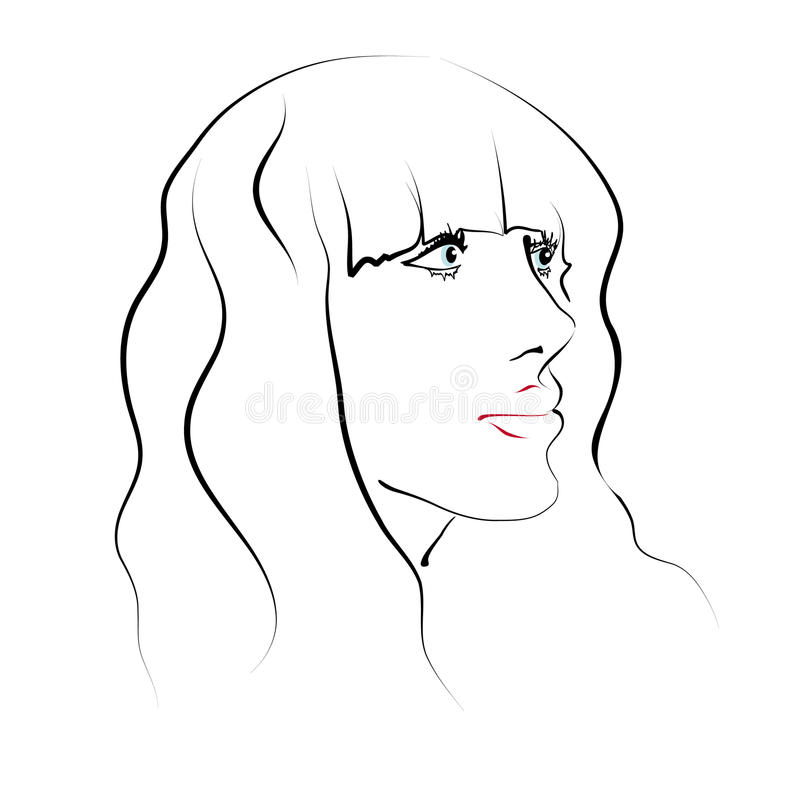 The Girl S Face. Sketch Royalty Free Stock Image