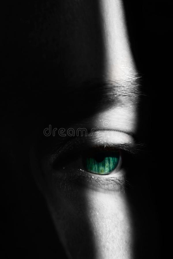 Girl`s eye in Highlight and Shadows stock photography