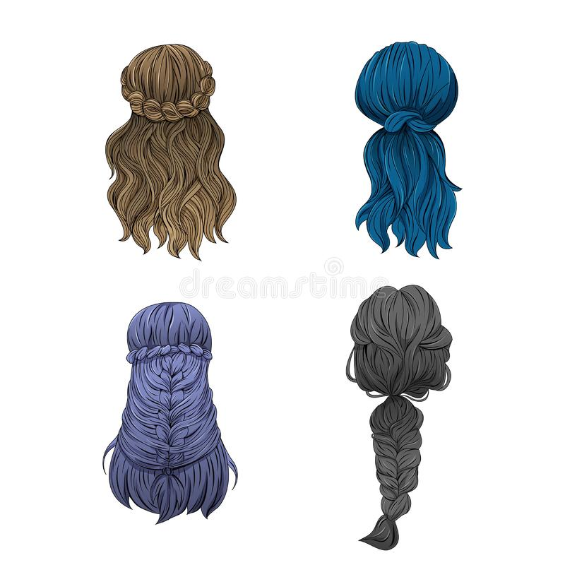 Girl `s hair In a variety of styles stock illustration