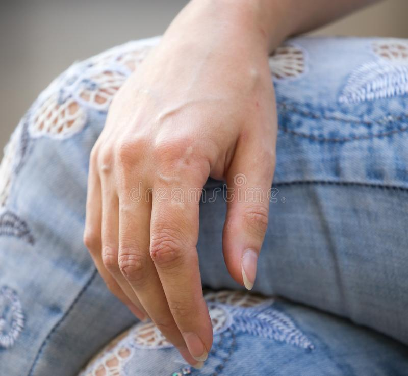 Girl`s hand with veins royalty free stock photos