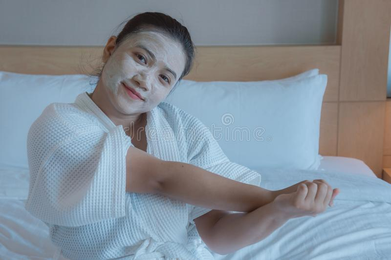 Girl`s happy time of Face Mask pad , beauty skill massage spa of stock photography