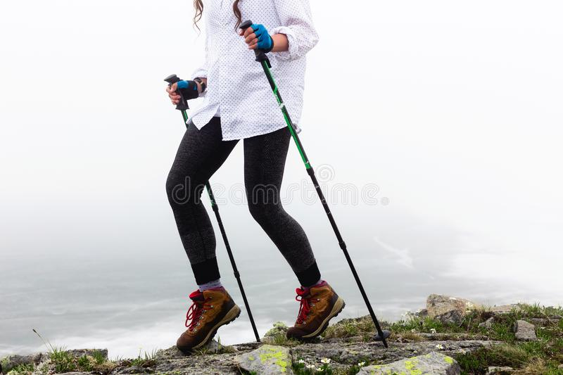 Legs of a girl during a walk. royalty free stock image