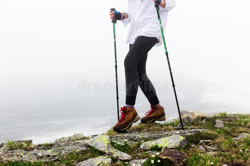 Legs of a girl during a walk. royalty free stock photography