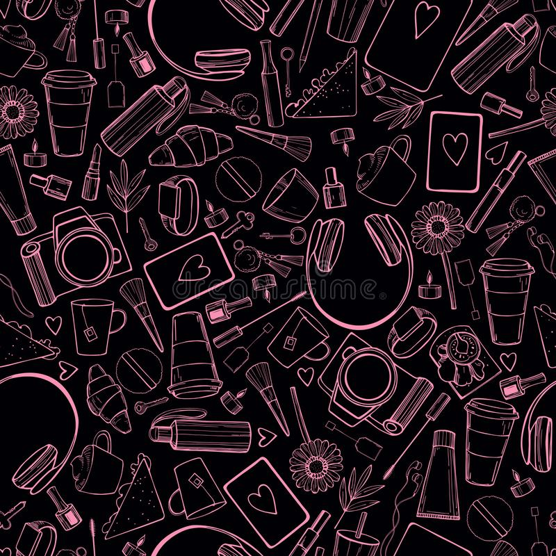 Girl`s daily life. Vector seamless pattern vector illustration