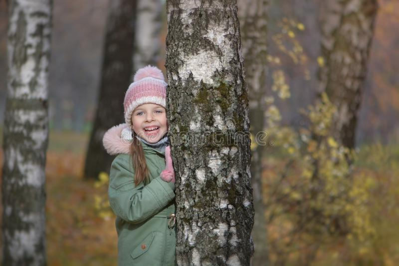 Girl`s portrait in autumn park royalty free stock photography