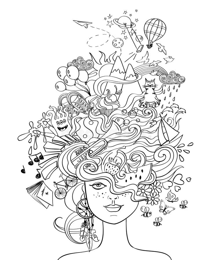 Girl's Portrait With Crazy Hair - Lifestyle Concept. Portrait of young beautiful girl with crazy psychedelic hair and her dreams, wishes, hobbies - lifestyle vector illustration