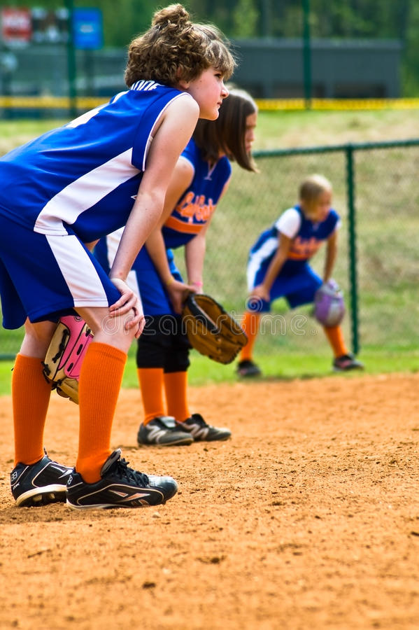 Girl's Softball Outfielders royalty free stock images