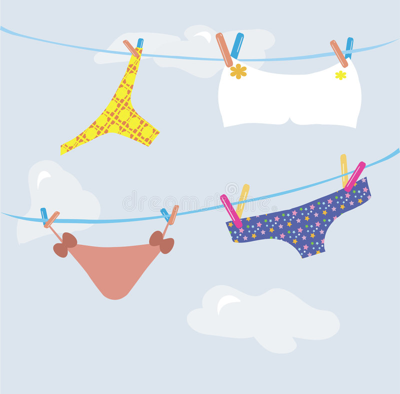 Girl's underwear. Different kinds of underwear dry in the open air vector illustration