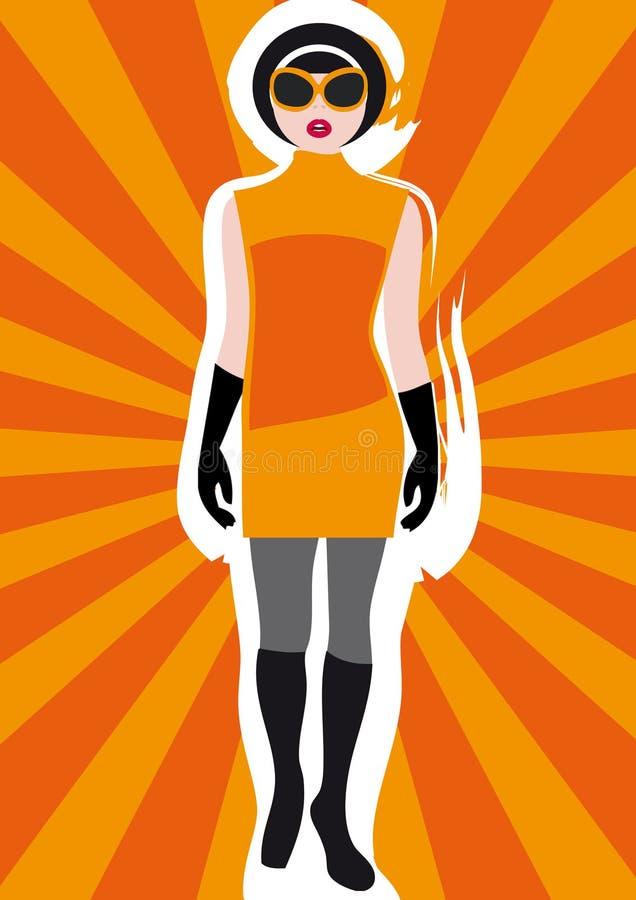 Girl's Vintage Clothing on Sunburst Background 1 stock illustration
