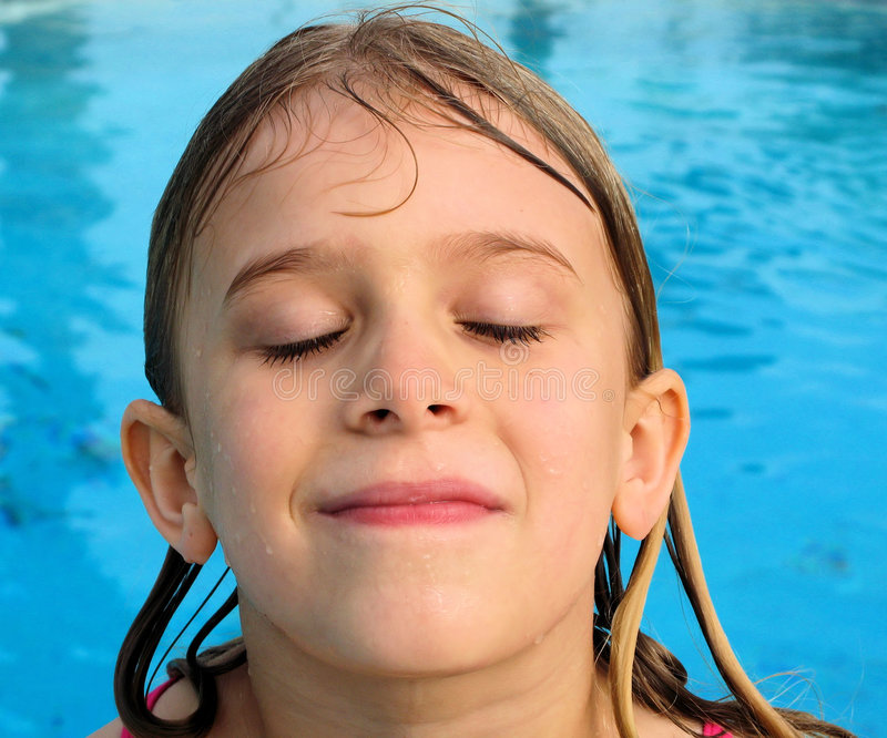 Download Girl's Wet Face stock photo. Image of blue, happiness - 5249654