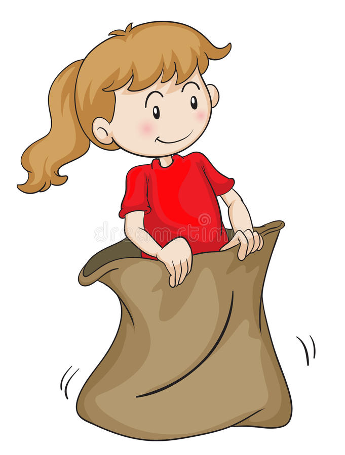 A girl in a sack. Detailed illustration of a girl in a sack on white royalty free illustration