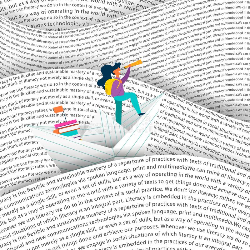 Girl sailing paper boat in education sea concept stock illustration
