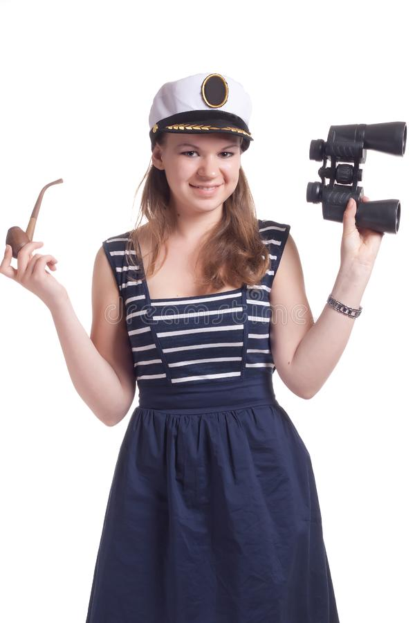 Download A girl in a sailor cap stock image. Image of glass, beautiful - 19705379