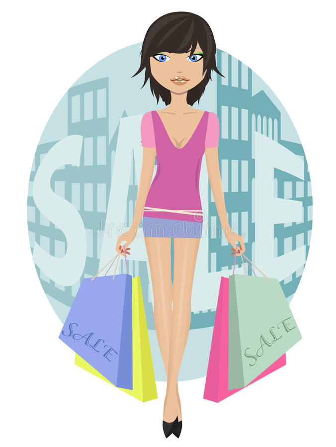 Download Girl with sale bags stock vector. Image of beauty, fashion - 18172066