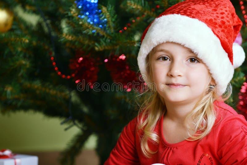 Download Girl  in santa cap stock image. Image of holiday, smile - 27285323