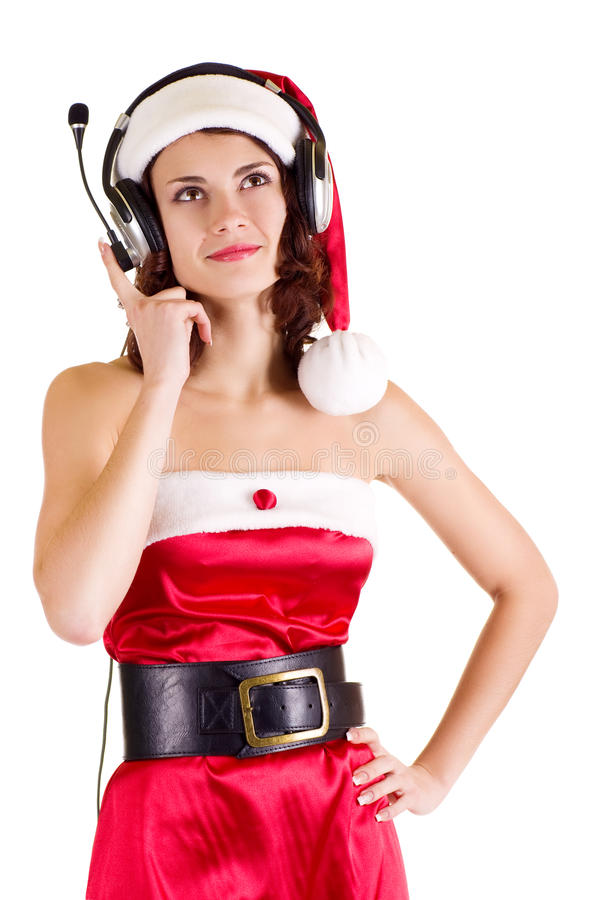Girl in Santa Claus clothes royalty free stock photography