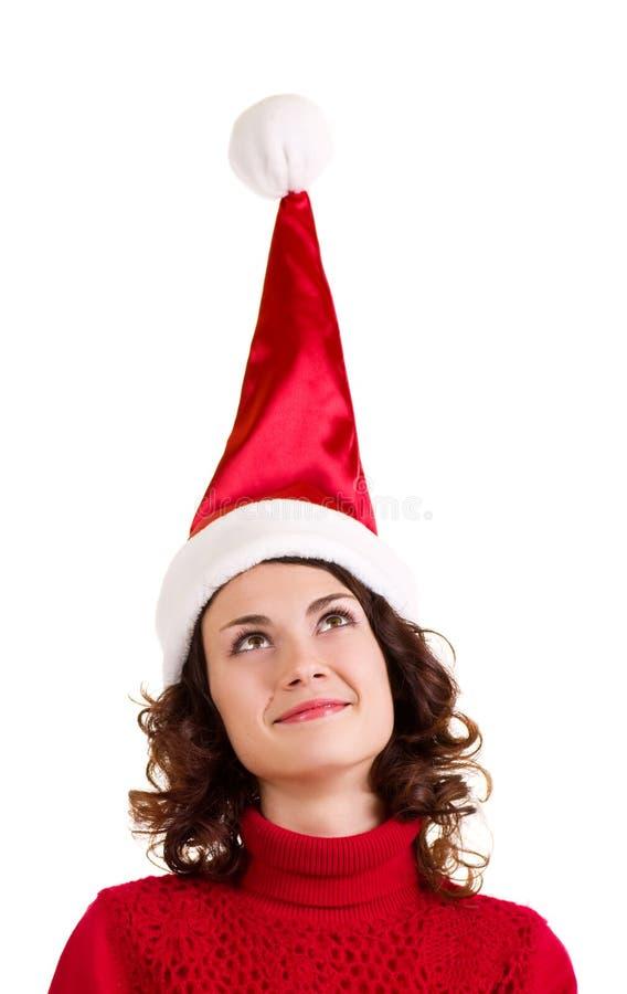 Girl in Santa Claus clothes stock photos