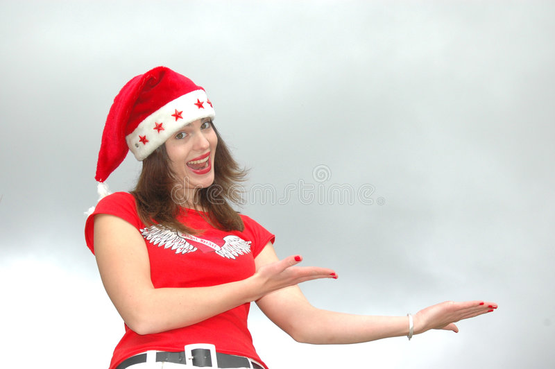 Girl In Santa Claus Hat Stock Photos