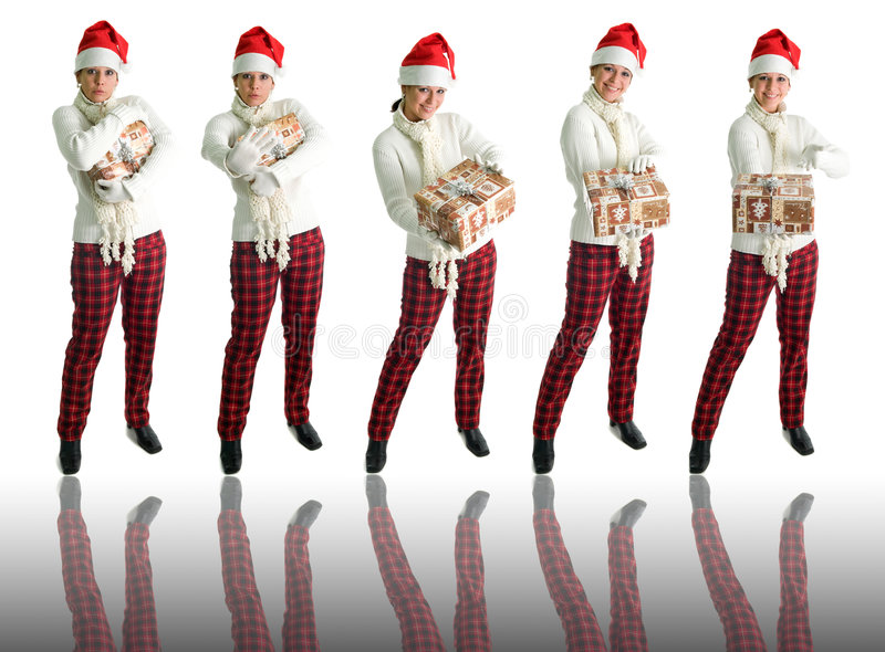Girl in santa hat - 5 poses. Girl in santa hat holding present isolated over white with reflection, 5 different poses royalty free stock images
