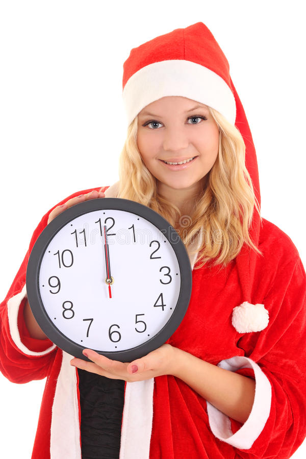 Download Girl With Santa Hat Holding Clock Stock Image - Image: 27356777