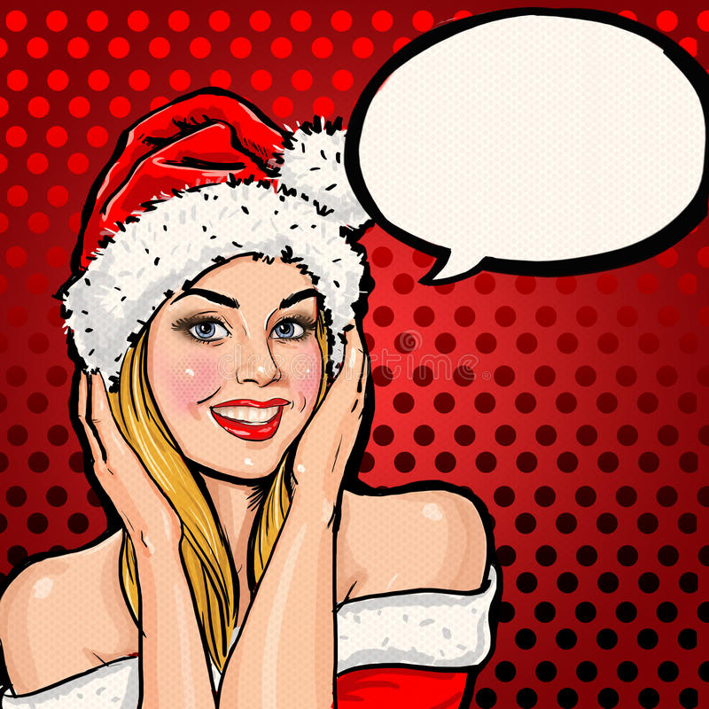 Girl in Santa hat with speech bubble on red background. stock illustration