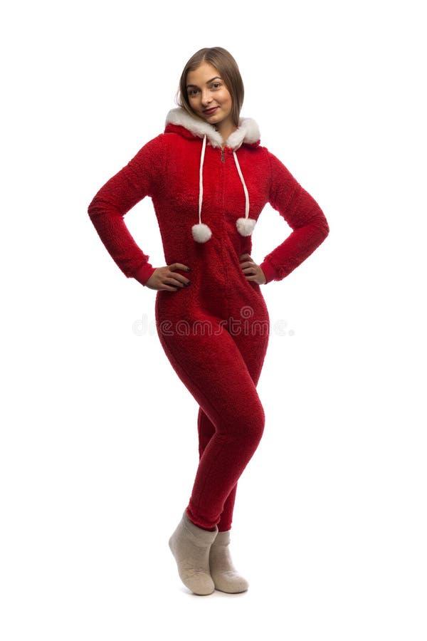 Girl Santa. Studio stock photo