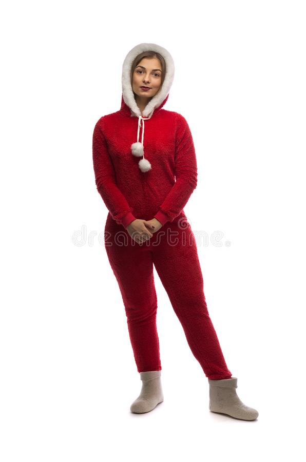 Girl in a santa suit royalty free stock photo