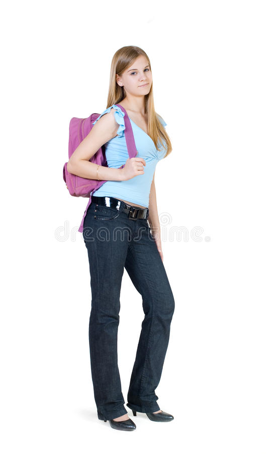Download The girl with a satchel stock image. Image of smiles - 16653307