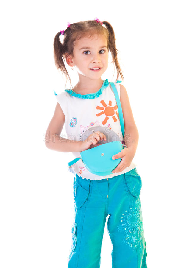Girl With Satchel Royalty Free Stock Images