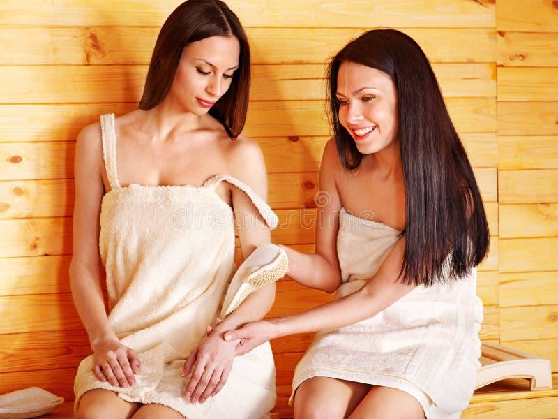 Girl in sauna stock photo. Image of washing, steam
