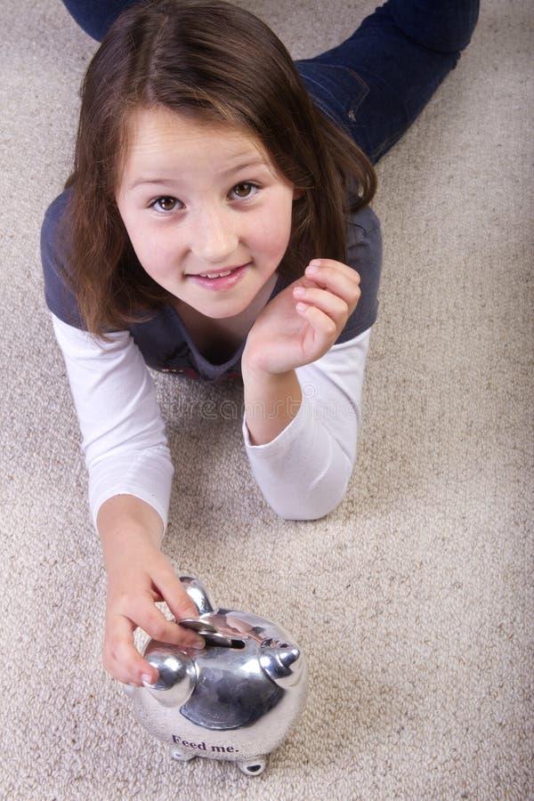 Girl Saving Her Money Stock Images