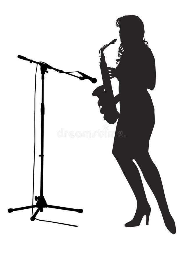 Download Girl saxophonist stock vector. Image of microphone, cartoons - 36599022