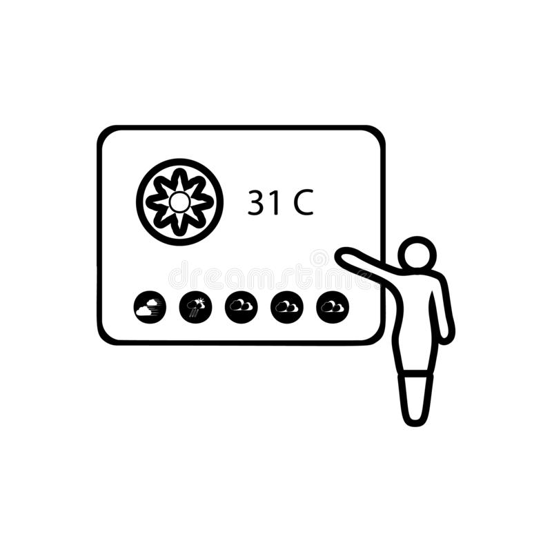 Girl says weather forecast sign icon. Element of Weather for mobile concept and web apps icon. Outline, thin line icon for website. Design and development, app vector illustration