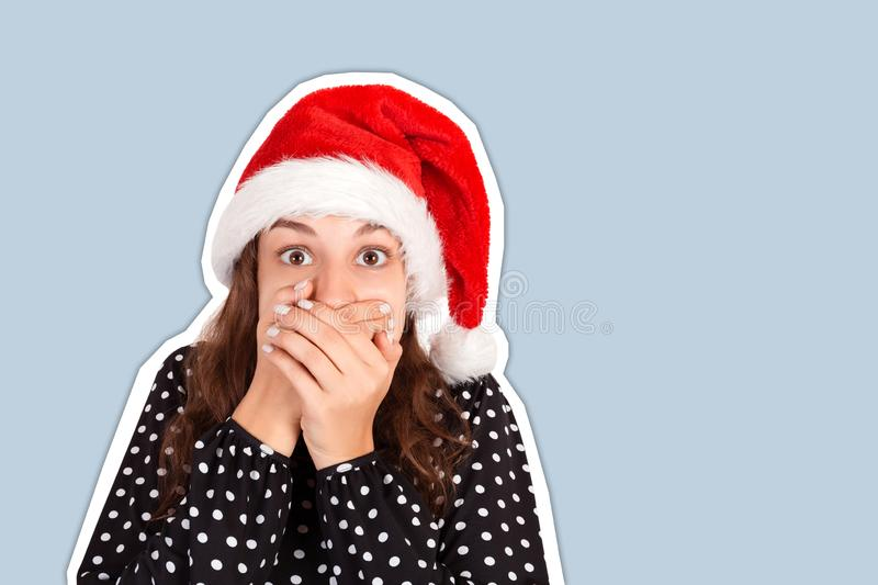 Girl scared and closes the mouth with her hands. Magazine collage style with trendy color background. holiday concept.  stock images