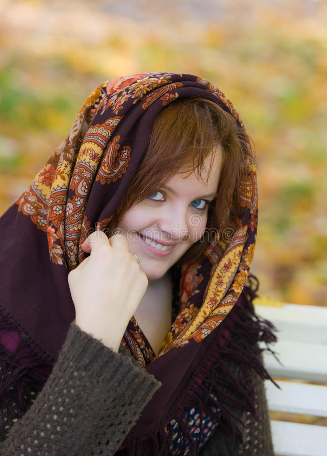 Download Girl in a scarf stock image. Image of face, hair, beauty - 28040167