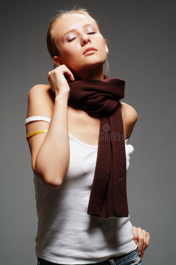 Girl with a scarf royalty free stock image