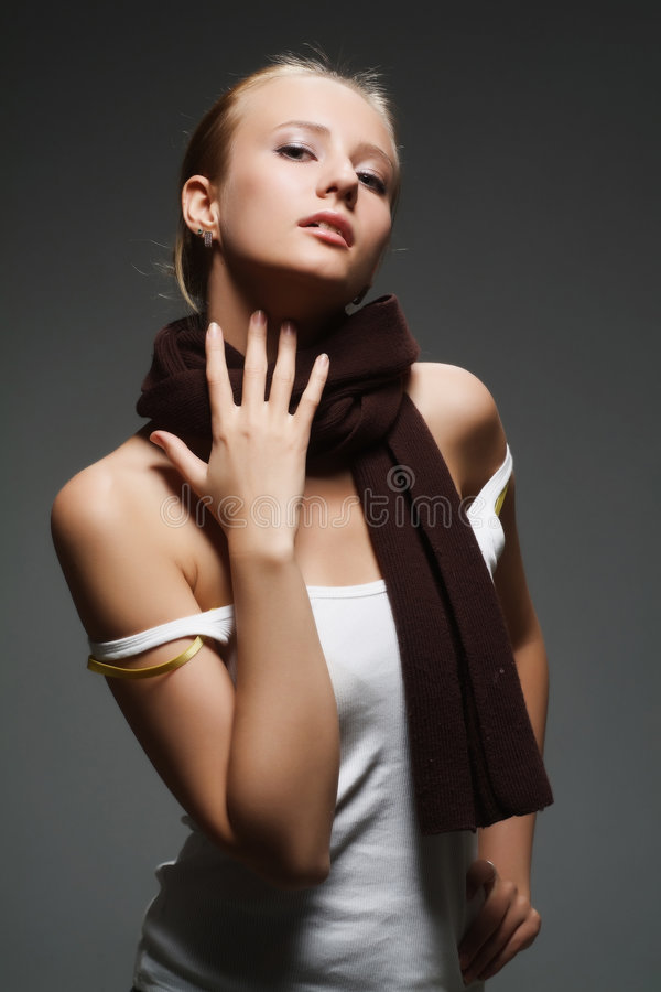 Girl with a scarf royalty free stock photography