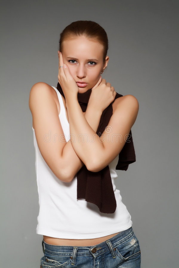 Girl with a scarf stock image