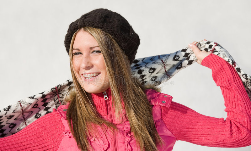 Girl With Scarf. Teenage Girl Wearing Hat and Scarf stock photography