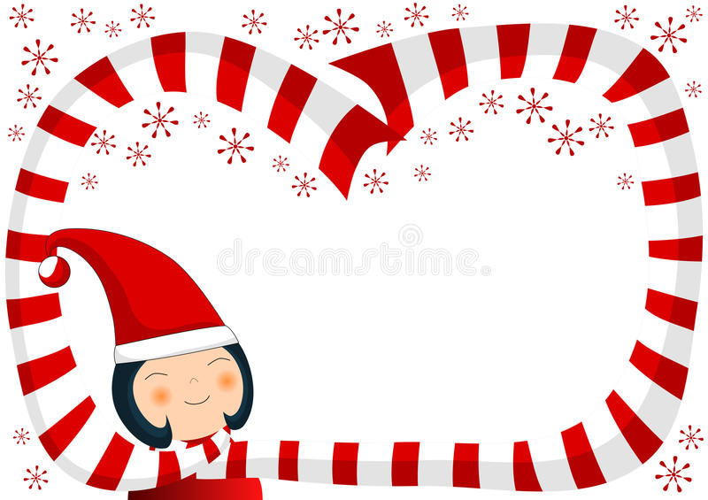 Girl with Scarf and Snowflakes Christmas Border royalty free illustration