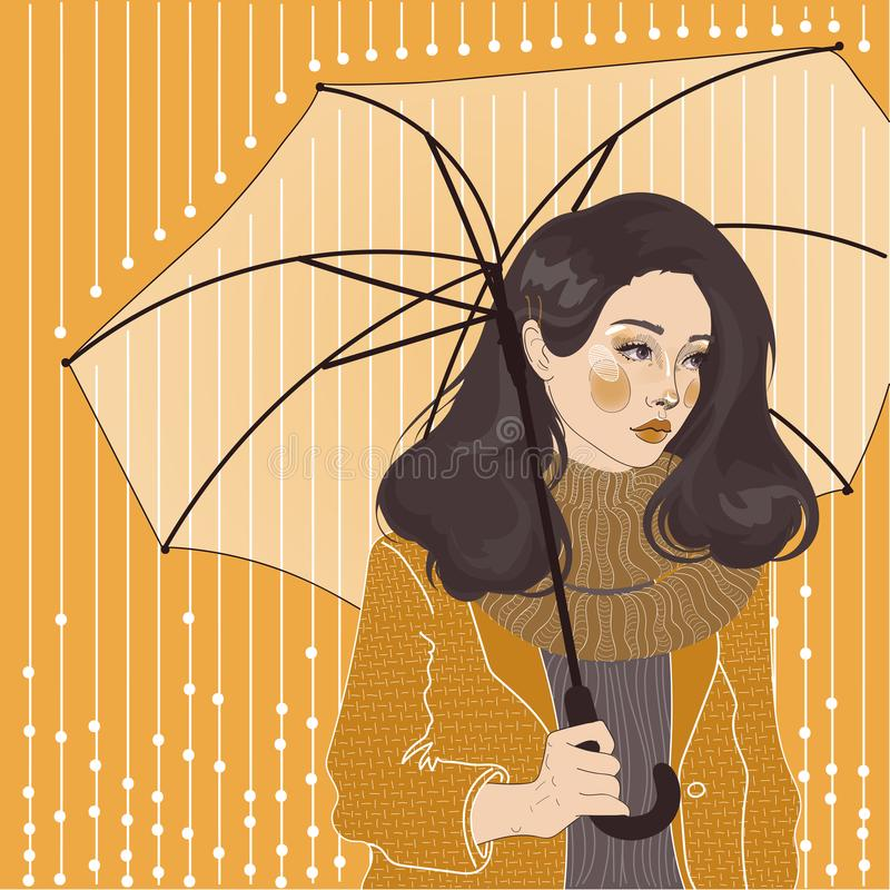Girl in scarf under umbrella, royalty free illustration