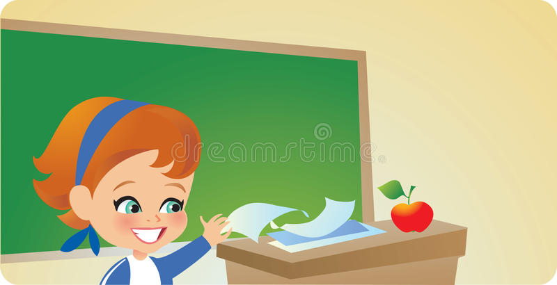 Young Girl in Classroom royalty free illustration