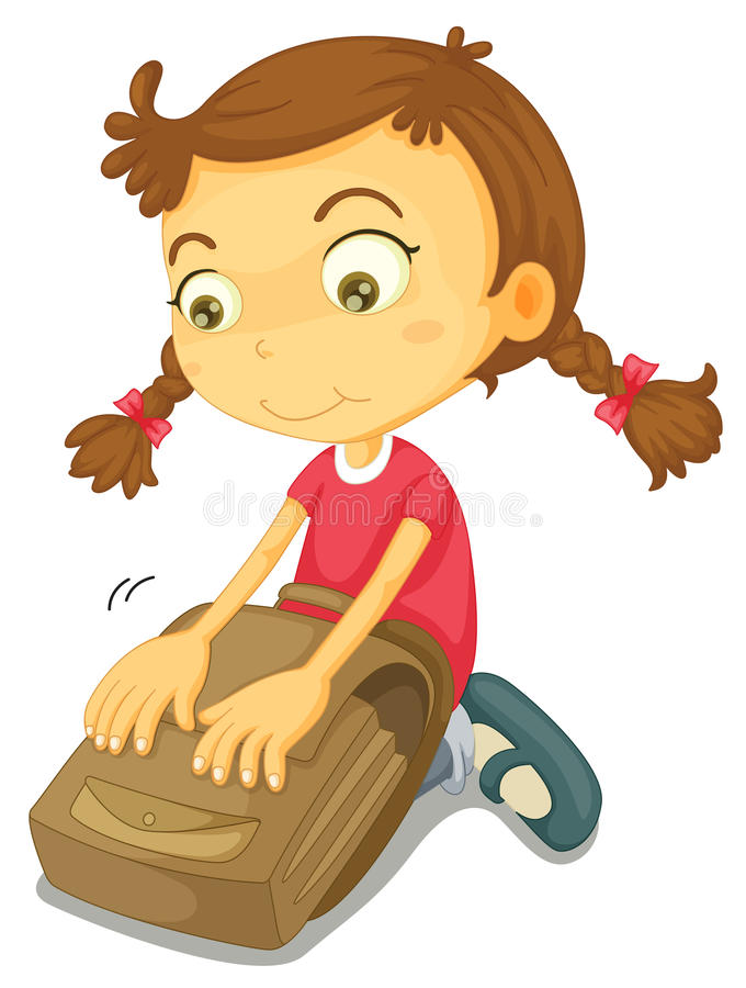 A girl with school bag stock illustration