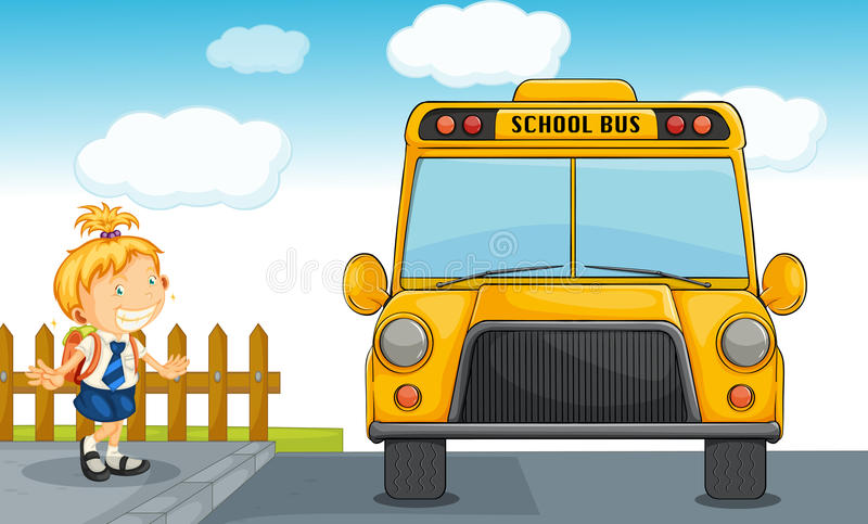 Girl and school bus vector illustration