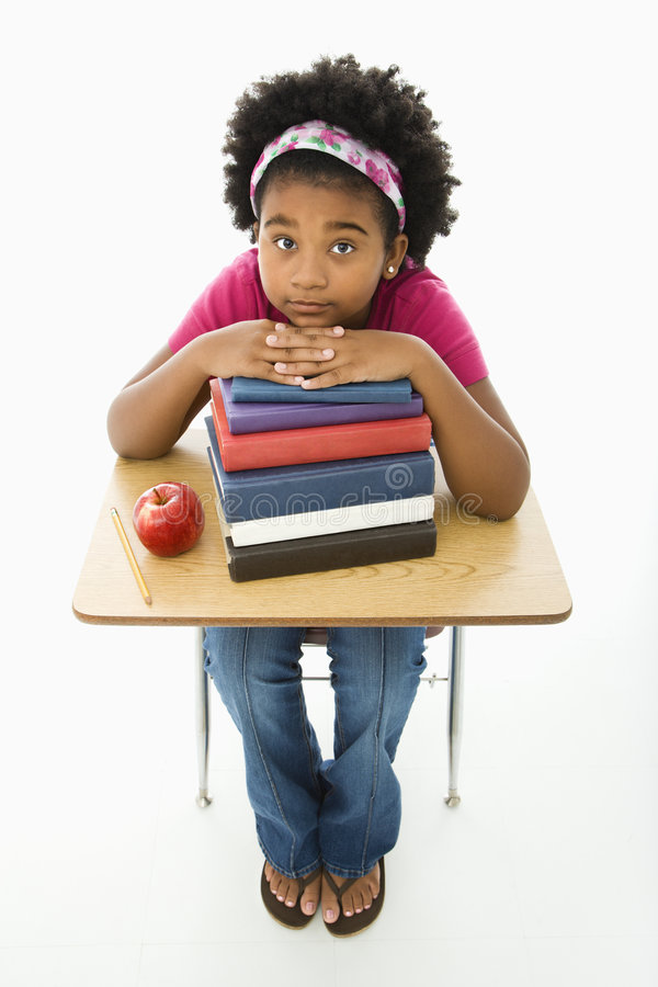 Download Girl at school desk stock image. Image of background, portrait - 3422999