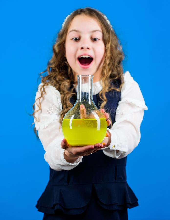 Girl school pupil study chemical liquids. School laboratory. Future microbiologist. Learn patterns of nature. Education. Pushing investigations concept. I know stock photography
