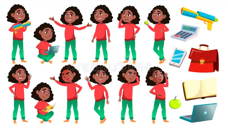 Girl Schoolgirl Kid Poses Set Vector. Black. Afro American. High School Child. Children Study. Knowledge, Learn, Lesson. For Advertising, Placard Print Design royalty free illustration