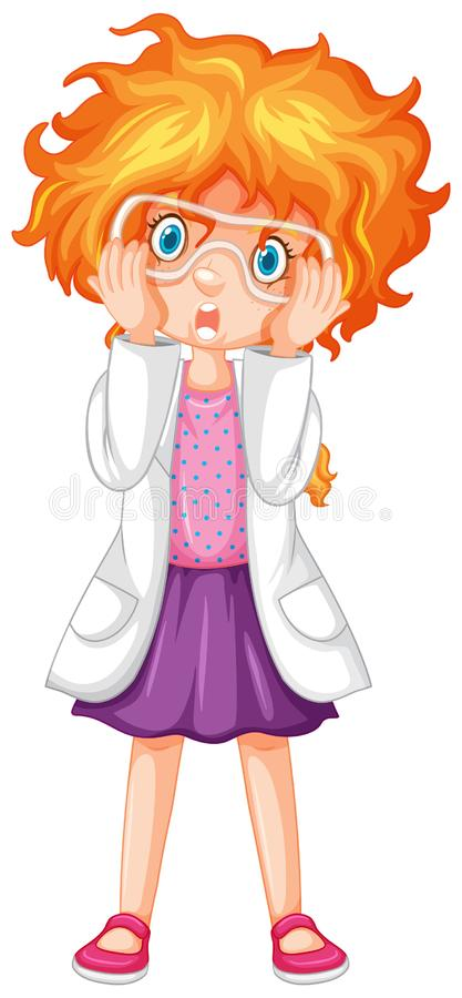 Girl in science gown and goggles vector illustration