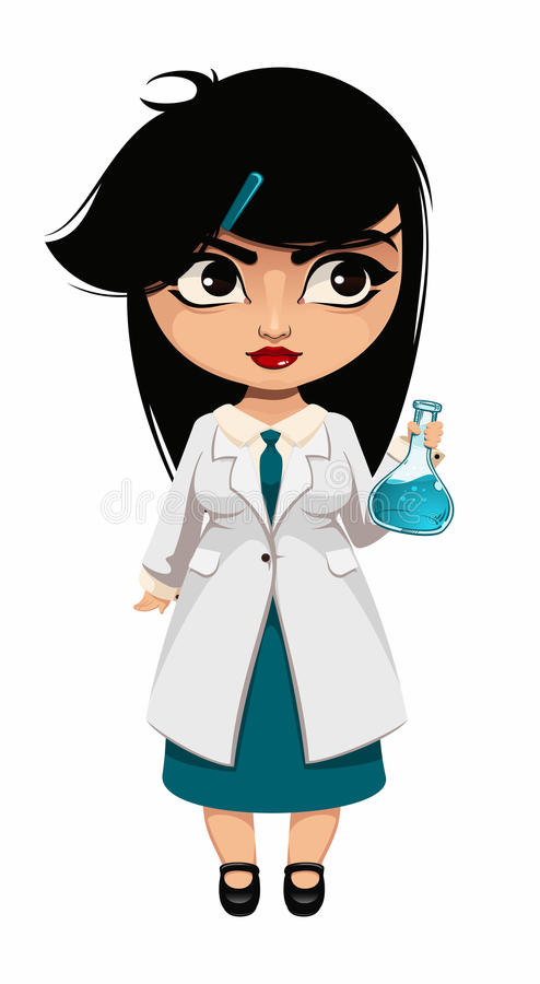 Girl scientist. In white coat inspecting flask royalty free illustration